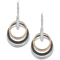 Nine West Tri Tone Multi Ring Drop Earrings