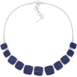 Nine West Blue Square Frontal Drop Necklace