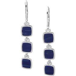 Nine West Blue Square Triple Linear Drop Earrings