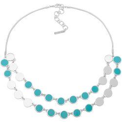Nine West Aqua Disc Double Row Frontal Necklace