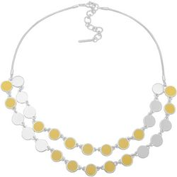 Nine West Yellow Double Disc Frontal Necklace