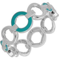 Nine West Aqua Silver Tone Ring Stretch Bracelet