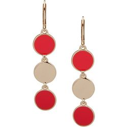 Nine West Coral Triple Disc Lever Back Earrings