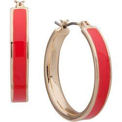 Nine West Coral Pink Click It Hoop Earrings