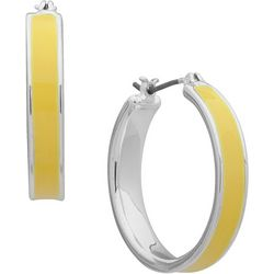Nine West Yellow Click It Hoop Earrings