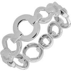 Nine West Silver Tone Ring Link Stretch Bracelet