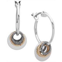 Nine West Tri Tone Ring Drop Hoop Earrings
