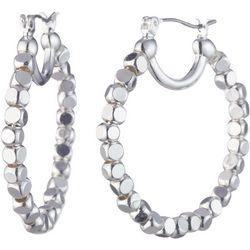 Nine West Silver Tone Beaded Hoop Earrings
