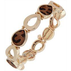 Cheetah Print & Gold Tone Stretch Bracelet