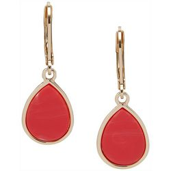 Nine West Coral Pink & Gold Tone Teardrop Earrings