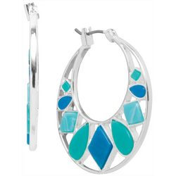 Nine West Silver Tone & Blue Hoop Earrings