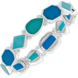 Nine West Silver Tone & Blue Stretch Bracelet