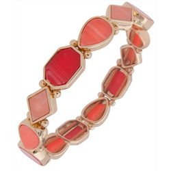 Nine West Coral Pink & Gold Tone Stretch Bracelet