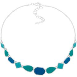 Nine West Blue & Silver Tone Snake Chain Necklace