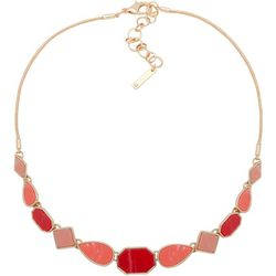 Nine West Coral Pink & Gold Tone Snake Chain Necklace