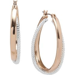 Nine West Two Tone Snake Chain Hoop Earrings