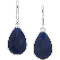Nine West Blue Multi-Faceted Stone Leverback Earrings