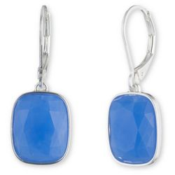 Nine West Silver Tone & Blue Simple Square Drop Earrings