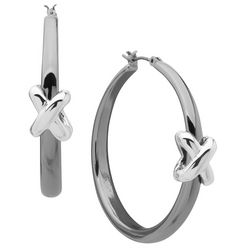 Nine West Silver Two Tone Twist Knot Hoop Earrings