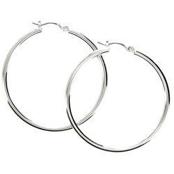 Nine West Silver Tone 1.75 in. Hoop Earrings