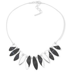 Nine West Silver Tone Oval Frontal Necklace