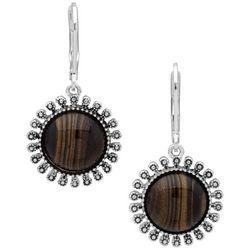 Chaps Silvertone Wood Mandala Drop Earrings