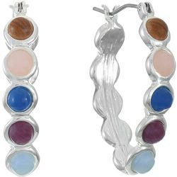 Chaps Multi Cabochon Click It Hoop Earrings