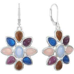 Chaps Blue Multi Flower Drop Earrings