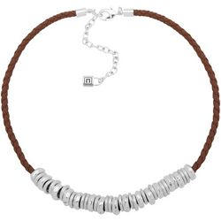 Chaps Brown Multi Ring Braided Cord Necklace