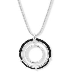 Chaps Silver Tone Black Circle Pendant Necklace