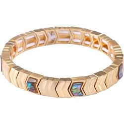 Chaps Gold Tone Abalone Shell Stretch Bracelet