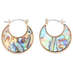 Chaps Gold Tone Abalone Shell Hoop Earrings