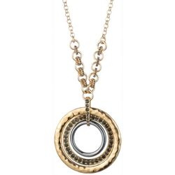 Chaps Multi Ring & Rhinestone Pendant Necklace