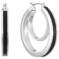 Chaps Silver Tone Layered Hoop Earrings