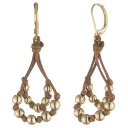 Chaps Gold Tone Double Beaded Drop Earrings