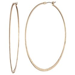 Chaps Gold Tone Flat Hoop Earrings