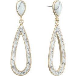Chaps Goldtone Hollow Teardrop Post Earrings