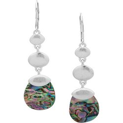 Chaps Triple Drop Oval & Abalone Shell Disc Earrings