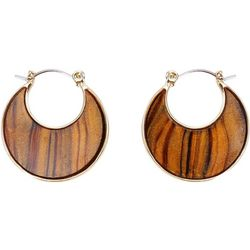 Chaps Small Brown Multi Flat Hoop Earrings