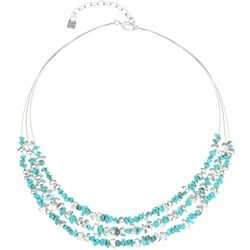 Chaps Two Rows Silver Tone Triple Row Turquoise Necklace