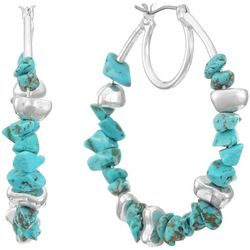 Chaps Silvertone Turquoise Chip Hoop Earrings