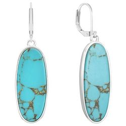 Chaps Silver Tone Turquoise Oval Drop Earrings
