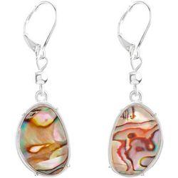 Chaps Abalone Shell Drop Silver Tone Earrings