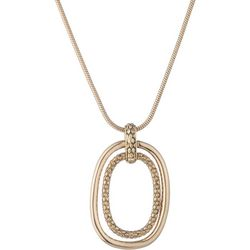 Chaps Double Oval Pendant Snake Chain Necklace