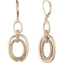Chaps Gold Tone Oval Drop Leverback Earrings