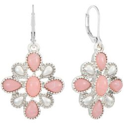 Chaps Pink & Silver Tone Flower Drop Earrings