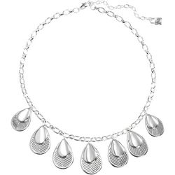Chaps Layered Teardrop Silver Tone Necklace