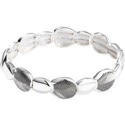 Chaps Silver Tone Teardrop Stretch Bracelet