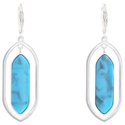 Chaps Turquoise Blue Cabochon Orbital Drop Earrings