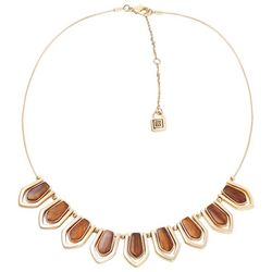 Chaps Faux Tiger Eye Stones Gold Tone Necklace